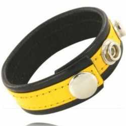 METAL HARD - COCK AND BALL STRAP WITH SNAPS - BLACK AND YELLOW