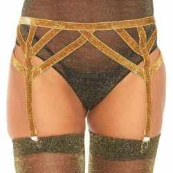 LEG AVENUE lace garter belt ONE SIZE GOLD LUREX