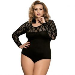 ELEGANT AND SENSUAL BODY OF SUBBLIME TEDDY LONG-SLEEVED BLACK WITH LACE AND TRANSPARENCIES IN SIZE