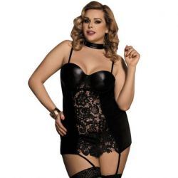 ELEGANT AND SENSUAL BLACK FETISH CORSET STYLE IMITATION LEATHER WITH FLORAL EMBROIDERY SIZE