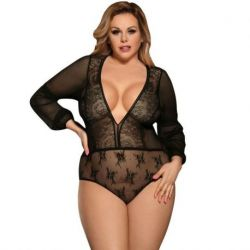 ELEGANT BLACK BODY OF SUBBLIME TEDDY LONG SLEEVES WITH TRANSPARENCIES AND EMBROIDERY SIZE