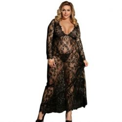SENSUAL LONG SLEEVE DRESS LARDO SUBBLIME WITH TRANPARENCIAS AND EMBROIDERED BLACK SIZE LARGE