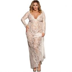 SENSUAL LONG SLEEVE DRESS LARDO SUBBLIME WITH TRANPARENCIAS AND EMBROIDERED WHITE SIZE LARGE