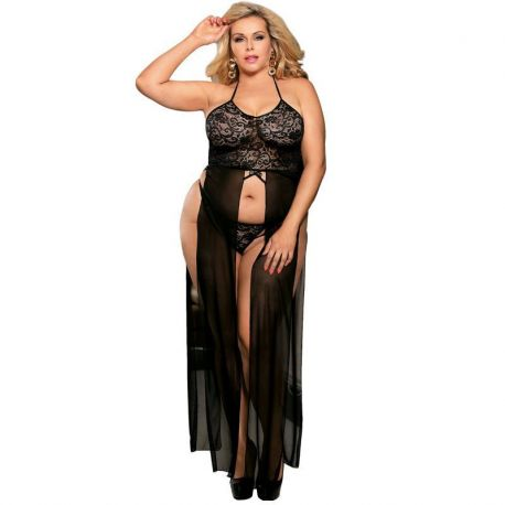 ELEGANT AND SENSUAL TOP-DRESSED IN BLACK WITH LACE SUBBLIME TRANSPARENCIES AND EMBROIDERY SIZE