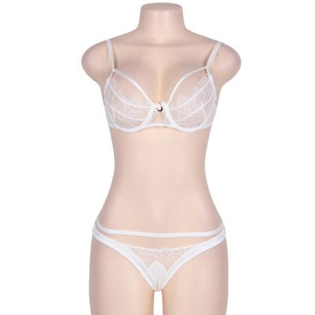 BEAUTIFUL AND SEXY TWO PIECE WHITE BRA AND TANGA SUBBLIME WITH TRANSPARENCIES EMBROIDERY SIZE