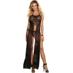 ELEGANT AND SENSUAL TOP-DRESSED IN BLACK WITH LACE SUBBLIME TRANSPARENCIES AND EMBROIDERY SIZE L/XL