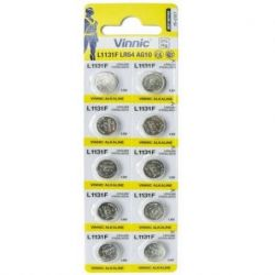 ALKALINE BUTTON BATTERIES OF LONG DURATION VINNIC LR54 (AG10) 10 BATTERIES