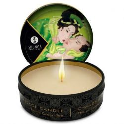 MINI STRELEN DOOR CANDELIGHT SHUNGA MASSAGE KAARS GROENE THEE 30ML